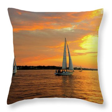 Sailboat Parade Throw Pillow