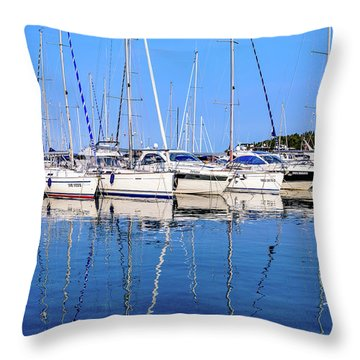 Sailboat Reflections - Rovinj, Croatia  Throw Pillow