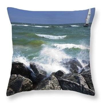 Sailboat Sailing Off The Shore At Ottawa Beach State Park Throw Pillow