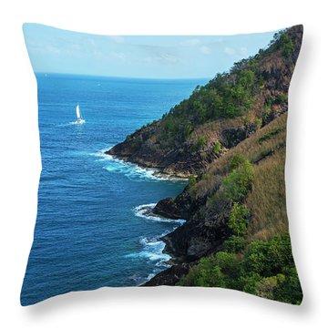 Sailboat Sailng Around Pigeon Island Saint Lucia Caribbean Throw Pillow