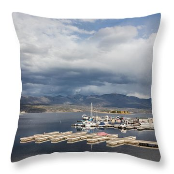 Sailboat Slips On Lake Granby In Grand County Throw Pillow by Carol M Highsmith