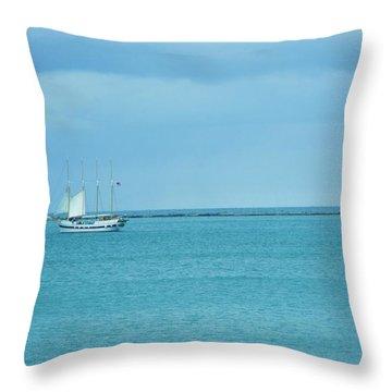 Sailboat Summer Throw Pillow by Anna Villarreal Garbis