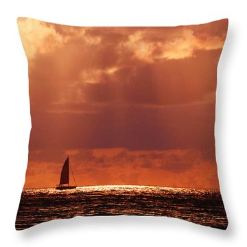 Sailboat Sun Rays Throw Pillow