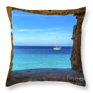 Sailboat Through The Old Stone Walls Of Rhodes, Greece Throw Pillow