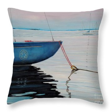 Sailboat Tied Throw Pillow by Marilyn  McNish
