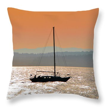 Sailboat With Bike Throw Pillow