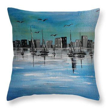 Sailboats And Cityscape Throw Pillow