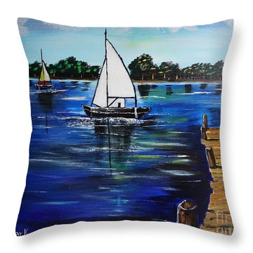 Sailboats And Pier Throw Pillow