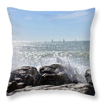 Sailboats And Surf Throw Pillow by Carol Bradley