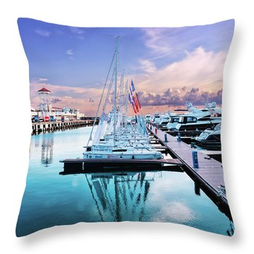 sailboats and yachts in the roads of the main sea channel of the Sochi seaport Throw Pillow