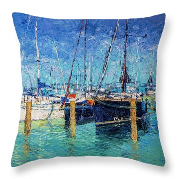 Sailboats At Balatonfured Throw Pillow