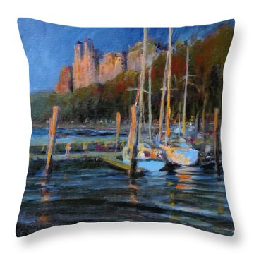 Sailboats At Dusk, Hudson River Throw Pillow