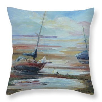 Sailboats At Low Tide Near Nelson, New Zealand Throw Pillow by Barbara Pommerenke