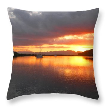 Sailboats At Sunrise In Puerto Escondido Throw Pillow