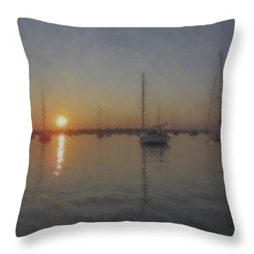 Sailboats At Sunset Throw Pillow