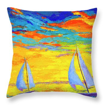 Throw Pillow featuring the painting Sailboats At Sunset, Colorful Landscape, Impressionistic Art by Patricia Awapara