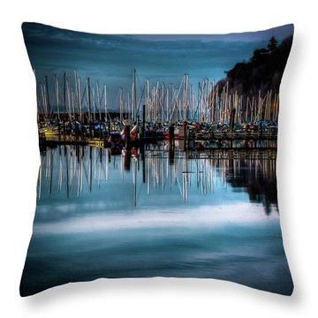 Sailboats At Sunset Throw Pillow by David Patterson