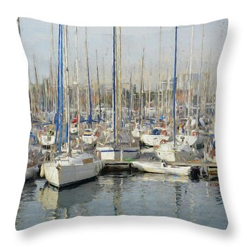 Sailboats At The Dock - Painting Throw Pillow