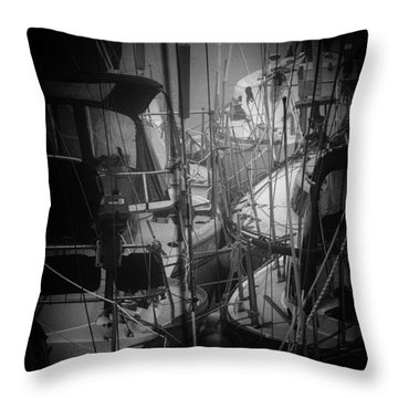 Sailboats Berthed In The Fog Throw Pillow