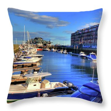 Throw Pillow featuring the photograph Sailboats Docked On Boston Harbor by Joann Vitali