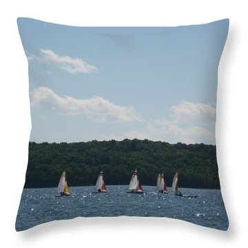 Sailboats In Eagle Harbor Throw Pillow