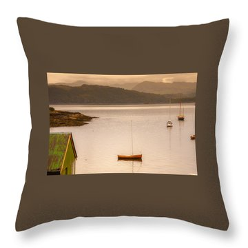 Sailboats In Fishing Village Throw Pillow