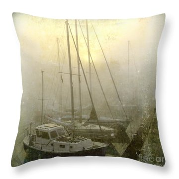 Sailboats In Honfleur. Normandy. France Throw Pillow