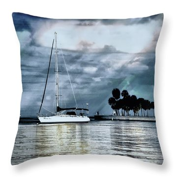 Sailboats Throw Pillow by Jim Hill
