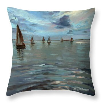 Sailboats On The Chesapeake Bay Throw Pillow