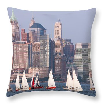 Sailboats On The Hudson II Throw Pillow by Clarence Holmes
