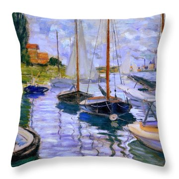 Sailboats On The Seine At Petit Gennevilliers Claude Monet 1874 Throw Pillow