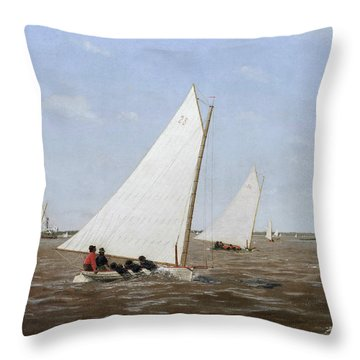 Sailboats Racing On The Delaware Throw Pillow