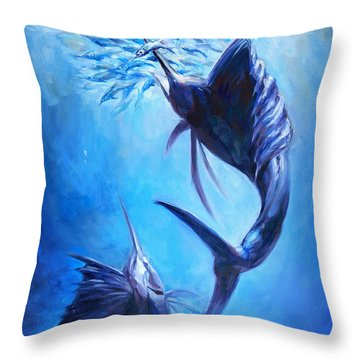 Sailfish And Ballyhoo Throw Pillow by Tom Dauria