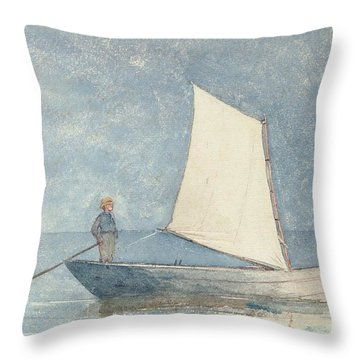 Sailing A Dory Throw Pillow by Winslow Homer