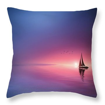 Sailing Across The Lake Toward The Sunset Throw Pillow
