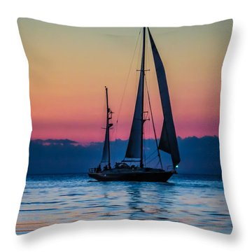 Sailing After Sunset Throw Pillow