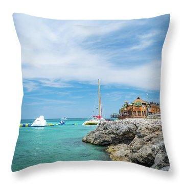 Coastline Sailing In Montego Bay Throw Pillow