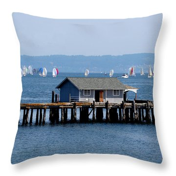 Sailing At Penn Cove Throw Pillow by Mary Gaines