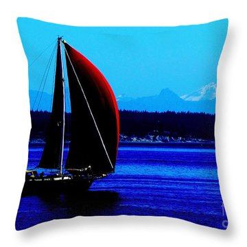 Sailing At Port Townsend Washington State Throw Pillow