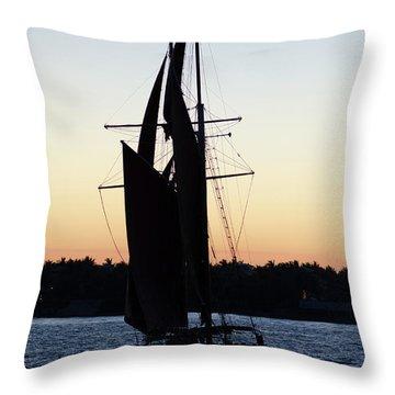 Sailing At Sunset Throw Pillow
