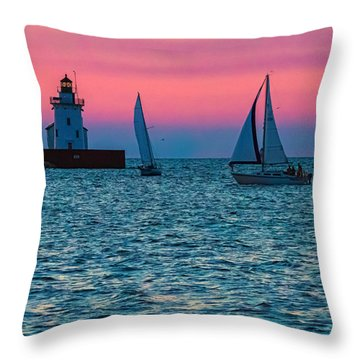 Sailing At The Cleveland Lighthouse  Throw Pillow