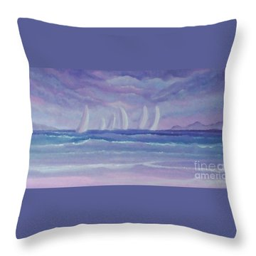 Sailing At Twilight Throw Pillow by Holly Martinson