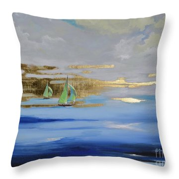 Throw Pillow featuring the painting Sailing Away by Mary Scott