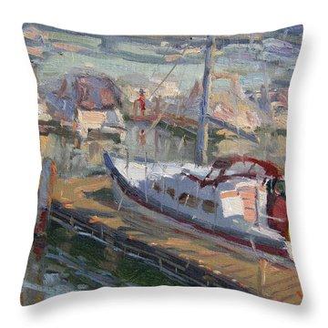 Sailing Boat At North Tonawanda Harbor Throw Pillow