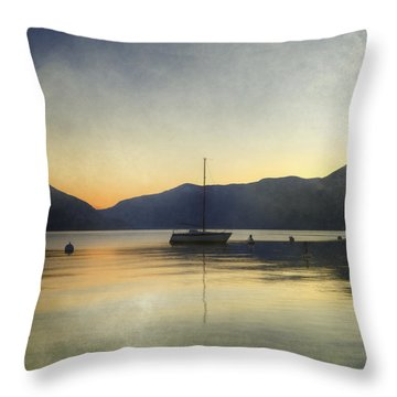 Sailing Boat In The Sunset Throw Pillow by Joana Kruse