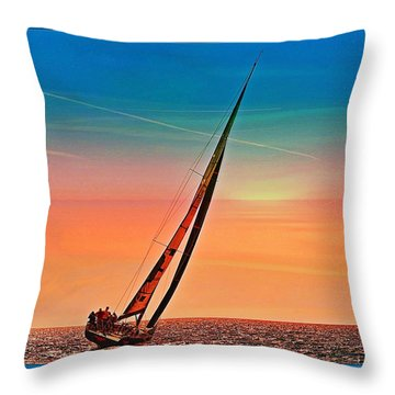 Sailing Boat Nautical 3 Throw Pillow