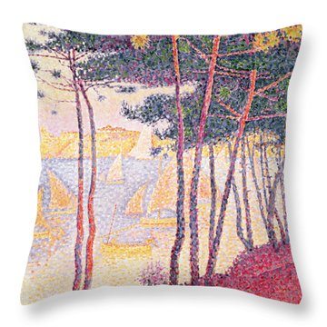 Sailing Boats And Pine Trees Throw Pillow by Paul Signac
