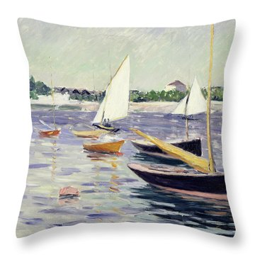 Sailing Boats At Argenteuil Throw Pillow by Gustave Caillebotte