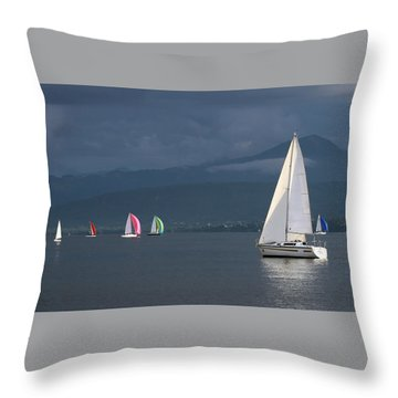 Sailing Boats By Stormy Weather, Geneva Lake, Switzerland Throw Pillow