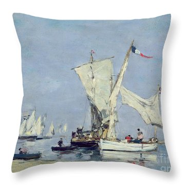 Sailing Boats Throw Pillow by Eugene Louis Boudin